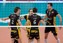 Team Belchatow during volleyball match between ACH Volley LJUBLJANA and  PGE Skra Belchatow (POL) of 2012 CEV Volleyball Champions League, Men, League Round in Pool F, 4th Leg, on December 20, 2011, in Arena Stozice, Ljubljana, Slovenia. (Photo By Grega Valancic / Sportida.com)