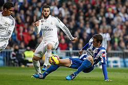 14.02.2015, Estadio Santiago Bernabeu, Madrid, ESP, Primera Division, Real Madrid vs Deportivo La Coruna, 23. Runde, im Bild Real Madrid&acute;s Nacho Fernandez and Raphael Varane and Deportivo de la Courna&acute;s Lucas // during the Spanish Primera Division 23rd round match between Real Madrid vs Deportivo La Coruna at the Estadio Santiago Bernabeu in Madrid, Spain on 2015/02/14. EXPA Pictures &copy; 2015, PhotoCredit: EXPA/ Alterphotos/ Victor Blanco<br /> <br /> *****ATTENTION - OUT of ESP, SUI*****