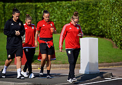 NEWPORT, WALES - Friday, August 31, 2018: Wales' Natasha Harding and Rachel Rowe during a pre-match team walk ahead of the FIFA Women's World Cup 2019 Qualifying Round Group 1 match between Wales and England. (Pic by David Rawcliffe/Propaganda)
