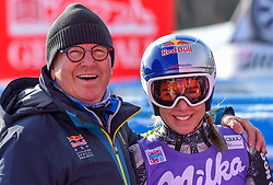 19.01.2019, Olympia delle Tofane, Cortina d Ampezzo, ITA, FIS Weltcup Ski Alpin, Abfahrt, Damen, im Bild Ester Ledecka (CZE) Robert Trenkwalder (Red Bull) // Ester Ledecka of Czech Republic and Robert Trenwalder (Red Bull) reacts after her run in the ladie's Downhill of FIS ski alpine world cup at the Olympia delle Tofane in Cortina d Ampezzo, Italy on 2019/01/19. EXPA Pictures © 2019, PhotoCredit: EXPA/ Erich Spiess