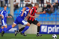 Stjepan Caban (23) of Nafta and Joao Gabriel Da Silva (8) of Primorje at 12th Round of PrvaLiga Telekom Slovenije between NK Primorje vs NK Nafta Lendava, on October 5, 2008, in Town stadium in Ajdovscina. Nafta won the match 2:1. (Photo by Vid Ponikvar / Sportal Images)