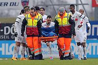 BLESSURE DE Erwan QUINTIN - 24.01.2015 - Clermont / Chateauroux  - 21eme journee de Ligue2<br />Photo : Jean Paul Thomas / Icon Sport