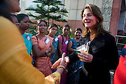 Melinda French Gates (right) meets some attendees in the reception area after the talks at the India Islamic Cultural Centre during the TEDxChange @ TEDxDelhi in New Delhi, India on 22nd March 2011..