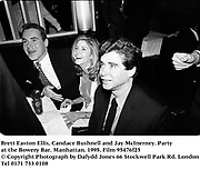 Brett Easton Ellis, Candace Bushnell and Jay McInerney. Party at the Bowery Bar. Manhattan. 1995. Film 95476f25<br /> &copy; Copyright Photograph by Dafydd Jones<br /> 66 Stockwell Park Rd. London SW9 0DA<br /> Tel 0171 733 0108