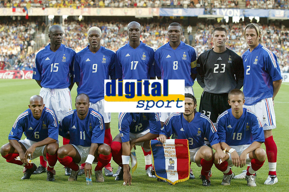 FOOTBALL - CONFEDERATIONS CUP 2003 - GROUP A - 030618 - FRANKRIKE v COLOMBIA - TEAM FRANCE (BACK ROW LEFT TO RIGHT: LILIAN THURAM / DJIBRIL CISSE / OLIVIER KAPO / MARCEL DESAILLY / GREGORY COUPET / PHILIPPE MEXES . FRONT ROW: OLIVIER DACOURT / SYLVAIN WILTORD / THIERRY HENRY / BIXENTE LIZARAZU / BENOIT PEDRETTI ) - PHOTO JEAN-MARIE HERVIO / DIGITALSPORT