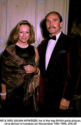 MR & MRS JULIAN HIPWOOD, he is the top British polo player, at a dinner in London on November 19th 1996.<br /> LTN 49