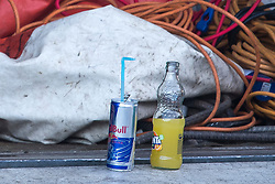 © Licensed to London News Pictures. 15/09/2019. London, UK. Soft drinks left at the scene at a children's play area in Jubilee Park in Edmonton, North London where a man, reported to be 30 years old, has bene stabbed to death. A man in his 40's has been arrested. Photo credit: Ben Cawthra/LNP
