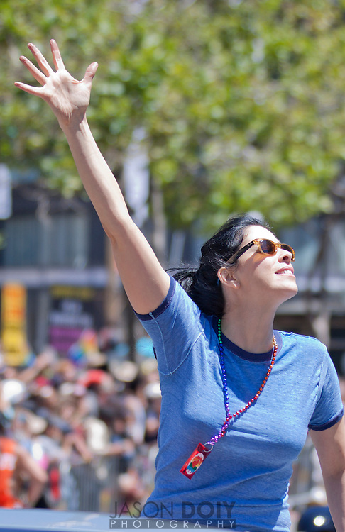 Sarah Silverman waves to the crowd at the San Francisco Pride Parade on June 24, 2012