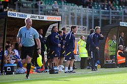 Bristol Rovers Manager, John Ward ushers the team forward  - Photo mandatory by-line: Dougie Allward/JMP - Tel: Mobile: 07966 386802 07/09/2013 - SPORT - FOOTBALL -  Home Park - Plymouth - Plymouth Argyle V Bristol Rovers - Sky Bet League Two