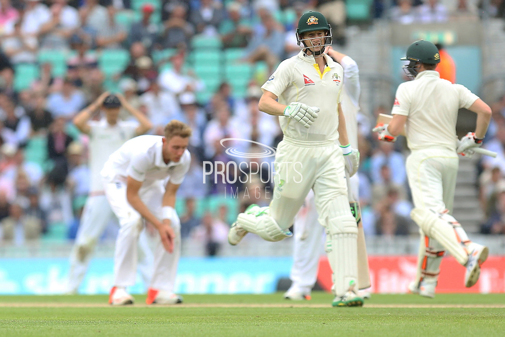 Adam Voges of Australia gets runs off the bowling of Stuart Broad of England during the 1st day of the 5th Investec Ashes Test match between England and Australia at The Oval, London, United Kingdom on 20 August 2015. Photo by Phil Duncan.