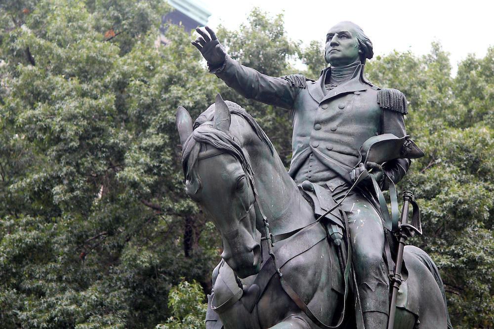 Equestrian statue of General George Washington, in the south side of Union Square. New York City