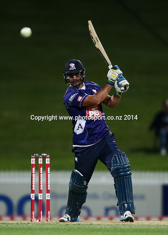Auckland Ace's Colin De Grandhomme batting during the Georgie Pie Super Smash T20 cricket match - Volts v Aces at Seddon Park, Hamilton, New Zealand on Saturday 1 November 2014.  Photo: Bruce Lim / www.photosport.co.nz