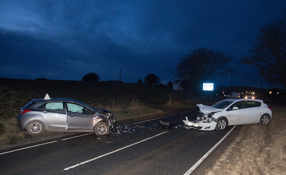 Road Traffic Accident on B999 road near Potterton, Aberdeenshire involving grey Learner Driver Honda Civic and white Vauxhall Astra<br /> <br /> (Picture by Michal Wachucik/Newsline Media Ltd)
