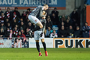 Coventry City Midfielder Jordan Shipley celebrates with Coventry City Midfielder Jodi Jones as he scores a goal 1-1 during the EFL Sky Bet League 2 match between Lincoln City and Coventry City at Sincil Bank, Lincoln, United Kingdom on 18 November 2017. Photo by Craig Zadoroznyj.
