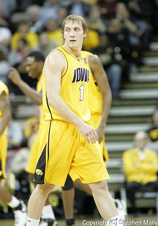 24 JANUARY 2007: Iowa guard Adam Haluska (1) in Iowa's 79-63 win over Penn State at Carver-Hawkeye Arena in Iowa City, Iowa on January 24, 2007.