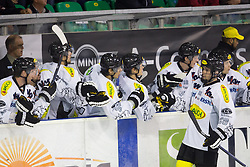 19.10.2012. Hala Tivoli, Ljubljana, SLO, EBEL, HDD Telemach Olimpija Ljubljana vs Dornbirner Eishockey Club, 13. Runde, in picture players of Dornbirner Eishockey Club celebrate after scoring a goal during the Erste Bank Icehockey League 13th Round match betweeen HDD Telemach Olimpija Ljubljana and Dornbirner Eishockey Club at the Hala Tivoli, Ljubljana, Slovenia on 2012/10/19. (Photo By Matic Klansek Velej / Sportida)