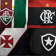 The shirt emblems of the four football teams of Rio de Janeiro, Brazil. .Fluminense, top left, Flamengo top right, Vasco da Gama, bottom left and Botafogo, bottom right. Rio de Janeiro, 23rd October 2010. Photo Tim Clayton.