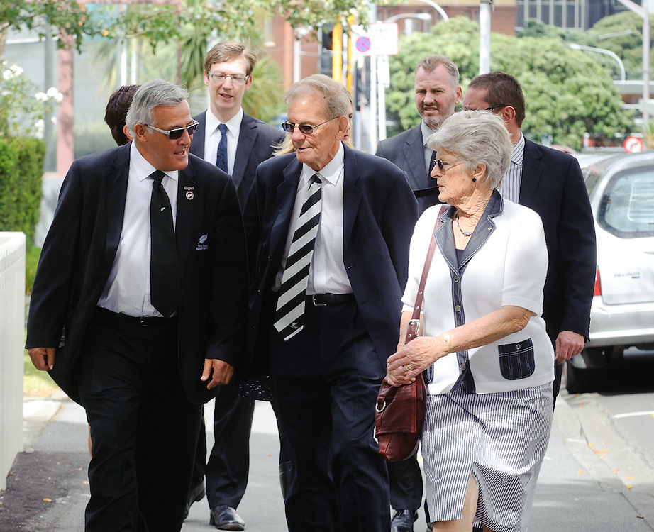 Former All Black Bryan Williams, and DJ Graham arrives at Old St Pauls Church for the funeral of Michael James Bowie Hobbs (Jock), former All Black rugby captain, Wellington, New Zealand, Sunday, March 18, 2012. Credit: SNPA / Mark Coote