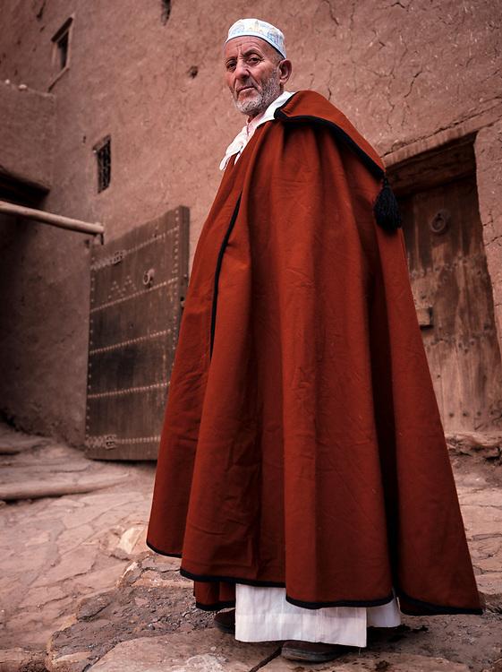 AIT BEN HADDOU, MOROCCO - CIRCA APRIL 2017: Moroccan man wearing traditional closes at the Ksar Ait Ben Haddou