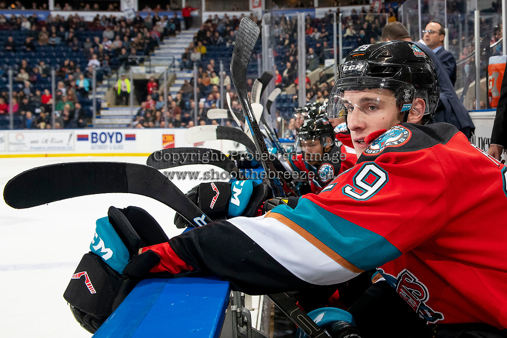 KELOWNA, BC - OCTOBER 16:  Nolan Foote #29 of the Kelowna Rockets sits on the bench against the Swift Current Broncos at Prospera Place on October 16, 2019 in Kelowna, Canada. (Photo by Marissa Baecker/Shoot the Breeze)
