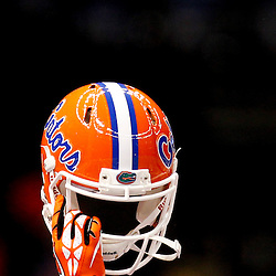 Jan 2, 2013; New Orleans, LA, USA; A Florida Gators player holds up his helmet prior to kickoff of the Sugar Bowl against the Louisville Cardinals at the Mercedes-Benz Superdome.  Mandatory Credit: Derick E. Hingle-USA TODAY Sports