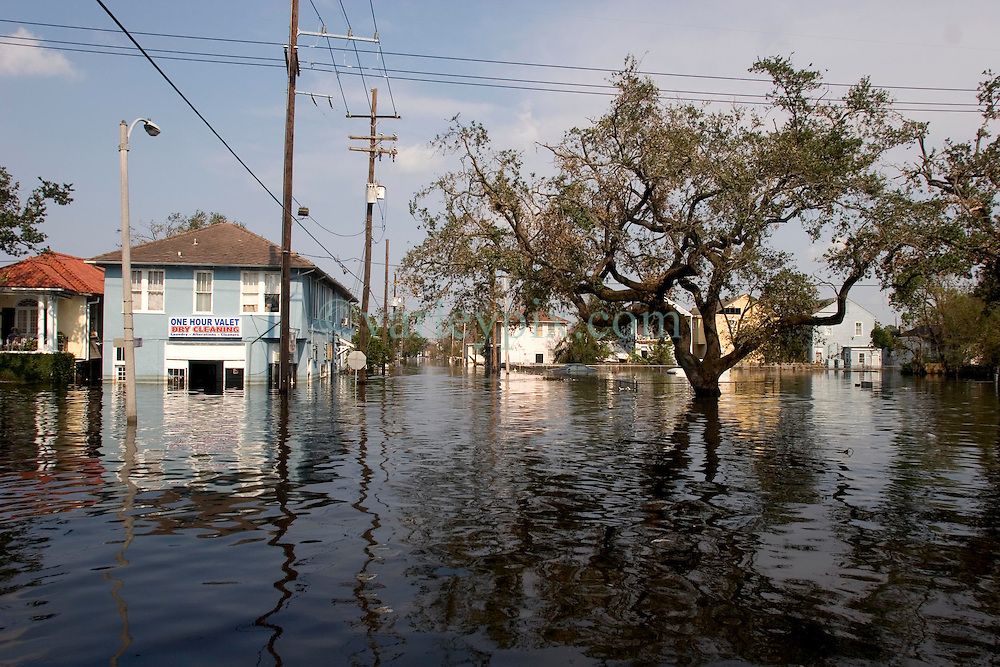05 Sept  2005. New Orleans, Louisiana. Post hurricane Katrina.<br /> A trip to uptown New Orleans along Napolean Ave. Reflections of a city that used to be. Devastating floods in Uptown New Orleans.<br /> Photo; &copy;Charlie Varley/varleypix.com