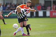 Peacehaven James Hammond battles with Luton Town Alex Lawless during the Pre-Season Friendly match between Peacehaven & Telscombe and Luton Town at the Peacehaven Football Club, Peacehaven, United Kingdom on 18 July 2015. Photo by Phil Duncan.