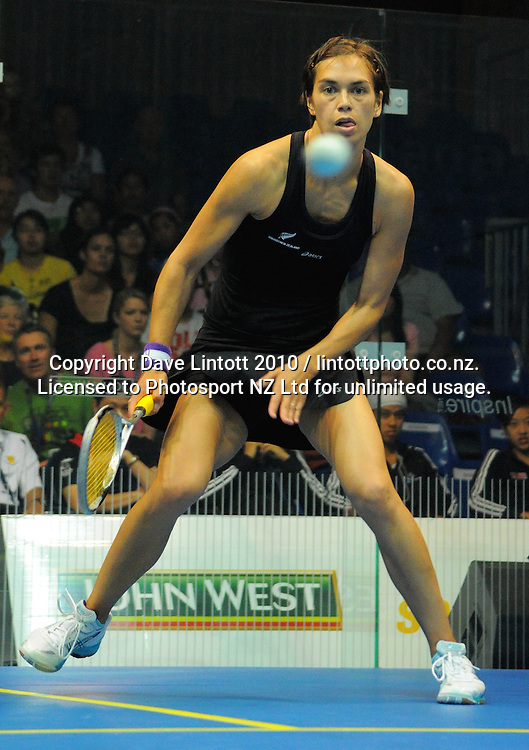 Shelley Kitchen (NZ, pictured) v Sharon Wee Ee Lin (Malaysia). Women's World Squash Teams thirdsfourth place playoff at International Pacific College Rec Centre, Palmerston North, New Zealand on Saturday, 4 December 2010. Photo: Dave Lintott / photosport.co.nz