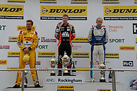 #3 Tom Chilton Team Shredded Wheat Racing with Gallagher Ford Focus RS, #33 Adam Morgan Ciceley Motorsport Mercedes-Benz A-Class and #1 Ashley Sutton Adrian Flux BMR Subaru Racing Subaru Levorg GT during BTCC Race 1 Podium as part of the Dunlop MSA British Touring Car Championship - Rockingham 2018 at Rockingham, Corby, Northamptonshire, United Kingdom. August 12 2018. World Copyright Peter Taylor/PSP. Copy of publication required for printed pictures.
