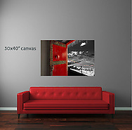 Red Couch with Kye Monstery Doorway canvas for sale