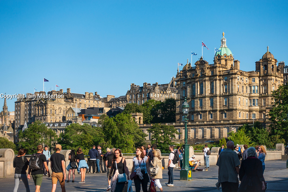 View of historic building in Old Town of Edinburgh from Princes StreetGardens, Scotland, UK