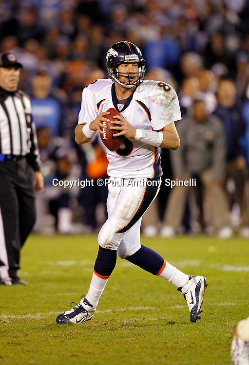 Denver Broncos quarterback Kyle Orton (8) drops back to pass during the NFL week 11 football game against the San Diego Chargers on Monday, November 22, 2010 in San Diego, California. The Chargers won the game 35-14. (©Paul Anthony Spinelli)