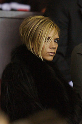 Manchester, England - Tuesday, March 13, 2007: Victoria Beckham, wife of fomrer Manchester United player David Beckham, watches from the stands during the UEFA Celebration Match at Old Trafford. (Pic by David Rawcliffe/Propaganda)