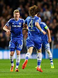 Chelsea Forward Andre Schurrle (GER) celebrates scoring a goal to give his side a 1-0 lead - Photo mandatory by-line: Rogan Thomson/JMP - 07966 386802 - 08/04/2014 - SPORT - FOOTBALL - Stamford Bridge, London - Chelsea v Paris Saint-Germain - UEFA Champions League Quarter-Final Second Leg.