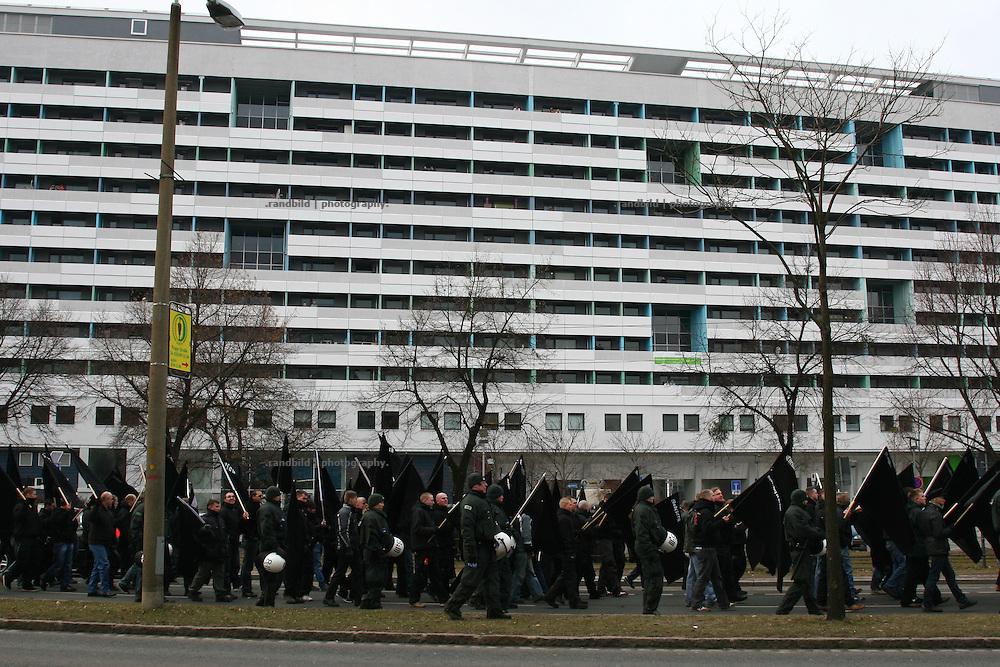 On the occasion of the remembrance day of the Dresden bombings (13.Feb.) 8.000 neonazis (picture) demonstrate through Dresden against the allied troops which struggled down the hitler regime 1945. About 15.000 people demonstrate same time against the huge neonazi march.