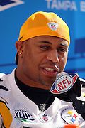 TAMPA, FL - JANUARY 27: Linebacker LaMarr Woodley #56 of the AFC Pittsburgh Steelers speaks to the media during Super Bowl XLIII Media Day at Raymond James Stadium on January 27, 2009 in Tampa, Florida. ©Paul Anthony Spinelli *** Local Caption *** LaMarr Woodley
