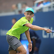 2017 U.S. Open Tennis Tournament - DAY TWO. Alex de Minaur of Australia in action against Dominic Thiem of Austria during the Men's Singles round one match at the US Open Tennis Tournament at the USTA Billie Jean King National Tennis Center on August 29, 2017 in Flushing, Queens, New York City. (Photo by Tim Clayton/Corbis via Getty Images)