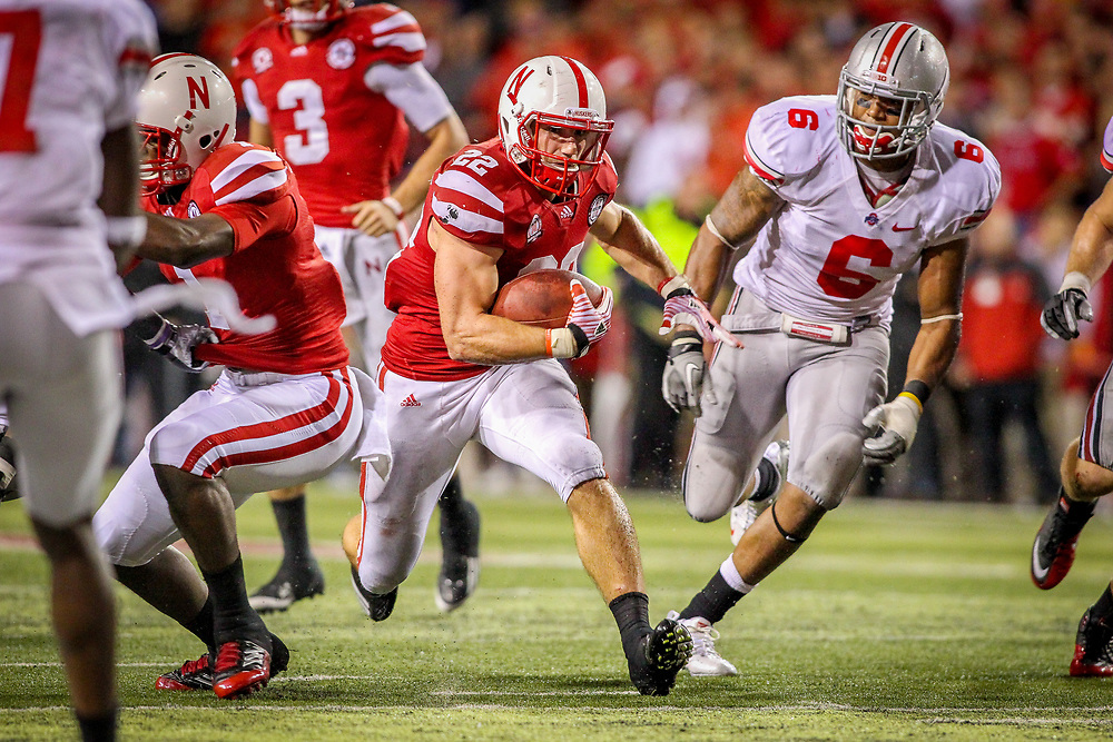 Rex Burkhead #22 of the Nebraska Cornhuskers rushes against Ohio State in Nebraska's first-ever Big Ten home game at Memorial Stadium in Lincoln on Oct. 8, 2011. Photo by Aaron Babcock