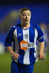 BIRKENHEAD, ENGLAND - Thursday, March 25, 2010: Wigan Athletic's captain Jon Routledge during the FA Premiership Reserves League (Northern Division) match in action against Liverpool at Prenton Park. (Photo by David Rawcliffe/Propaganda)