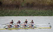 Hammersmith, Greater Game, London, UK.                     Imperial Coll II, move through the field on their way to passing Auriol Kensington/Canottieri Milano.                  2015 Fours Head of the River Race, River Thames [ opposite Chiswick Eyot]  Saturday  07/11/2015 <br /> <br /> [Mandatory Credit: Peter SPURRIER: Intersport Images]