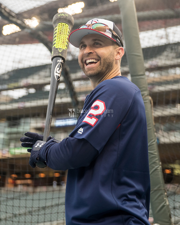 MINNEAPOLIS, MN- APRIL 3: Brian Dozier #2 of the Minnesota Twins looks on prior to the game against the Kansas City Royals on April 3, 2017 at Target Field in Minneapolis, Minnesota. The Twins defeated the Royals 7-1. (Photo by Brace Hemmelgarn) *** Local Caption *** Brian Dozier