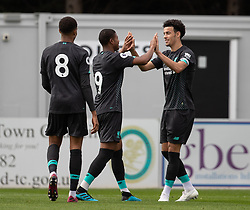 BOREHAMWOOD, ENGLAND - Saturday, September 28, 2019: Liverpool's Curtis Jones (R) celebrates scoring with team-mate Rhian Brewster during the Under-23 FA Premier League 2 Division 1 match between Arsenal FC and Liverpool FC at Meadow Park. (Pic by Kunjan Malde/Propaganda)