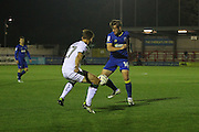 AFC Wimbledon midfielder Tom Beere (16) and Plymouth Argyle striker Craig Tanner (27) between AFC Wimbledon and Plymouth Argyle at the Cherry Red Records Stadium, Kingston, England on 4 October 2016. Photo by Stuart Butcher.