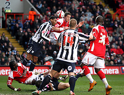 LONDON, ENGLAND - Friday, March 21, 2008: Charlton Athletic's Greg Halford scores the opening goal against West Bromwich Albion during the League Championship match at the Valley. (Photo by Chris Ratcliffe/Propaganda)