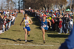 New England High School XC Championship, SIlas Eastman of Fryeburg Academy leans at finish for 3rd place