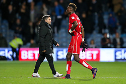Bristol City manager Lee Johnson looks looks frustrated and Tammy Abraham leaves the pitch after they lose 1-0 - Rogan Thomson/JMP - 18/10/2016 - FOOTBALL - Loftus Road Stadium - London, England - Queens Park Rangers v Bristol City - Sky Bet EFL Championship.