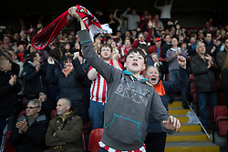 © Licensed to London News Pictures . 18/05/2016 . Accrington , UK . Accrington Stanley fans cheer after their team goes a goal up from a penalty . Accrington Stanley take on AFC Wimbledon at the Wham Stadium , in the 2nd leg of their League Two tie , the result from which will decide which team goes on to the final at Wimbledon . Photo credit : Joel Goodman/LNP
