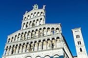 Catholic church of San Michele in Foro with Romanesque Rennaisance facade and bell tower  in Piazza San Michele, Lucca, Italy RESERVED USE - NOT FOR DOWNLOAD - FOR USE CONTACT TIM GRAHAM