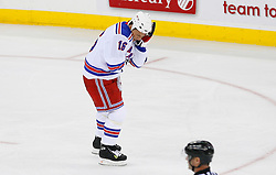 April 9, 2008; Newark, NJ, USA;  New York Rangers left wing Sean Avery (16) skates off after being hit by a puck during the first period of game 1 of the Eastern Conference Quarterfinal playoffs at the Prudential Center in Newark, NJ.