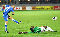 01.10.2011, Stadion, Wiener Neustadt, AUT, 1. FBL, SC Wiener Neustadt vs SV Mattersburg, im Bild Wolfgang Klapf, (SC Magna Wiener Neustadt, #13)  vs. Domoraud Wilfried, (SV Mattersburg, #11) // during the Austrian Bundesliga Match, SC Wiener Neustadt against SV Mattersburg, Stadium, Wiener Neustadt near Vienna, Austria on 2011-10-01, EXPA Pictures © 2011, PhotoCredit: EXPA/ S. Woldron
